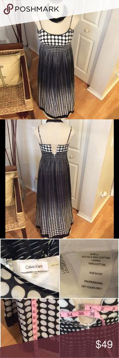 """Gorgeous Black & White Clavin Klein Maxi Dress This dress just flows.  It's a cotton linen blend with a cotton lining.  Light weight and very sexy.  It doesn't fit my mannequin as you can see in the back the zipper doesn't go up all the way. The bust is 36"""". Excellent Condition. Calvin Klein Dresses Maxi"""