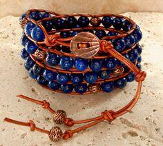 Egyptian Lapis Lazuli & Copper Handmade by BeadledeeBeadledum, $46.00