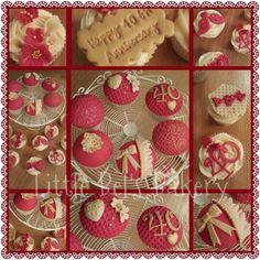 Ruby Wedding Cupcakes Anniversary Cupcakes, 40th Anniversary, Anniversary Parties, Ruby Wedding, Wedding Cupcakes, Cake Decorating, Baking, Party, Desserts