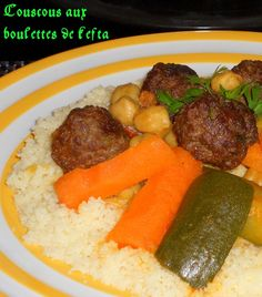 un délicieux couscous aux boulettes de kefta Algerian Recipes, Algerian Food, Chicken Couscous, Ramadan Recipes, Pasta, French Food, Pot Roast, Sausage, Favorite Recipes