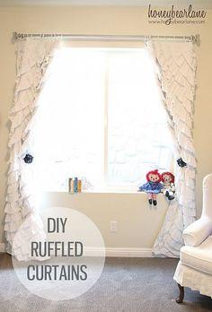 DIY Ruffled Curtains from Honeybear Lane