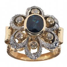 Antique Sapphire Diamond Silver Gold Flower Cluster Ring