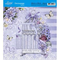 Adesivo de Papel para Decoupage Litoarte 20 x 20 cm - Modelo DA20-024 Gaiola com Flores Lilás - CasaDaArte