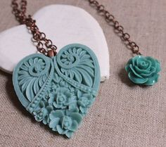 Teal heart pendant sea green valentine heart by acanthusjd on Etsy, $28.00