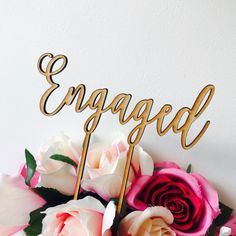 Engaged cake topper by Sugarboo personalized cake toppers we are engaged Cake Topper Cake Decoration Cake Decorating Engagement Cake CHLT Graduation Cake Toppers, Birthday Cake Toppers, Cupcake Toppers, Engagement Cake Toppers, Engagement Cakes, Personalized Wedding Cake Toppers, Custom Cake Toppers, Baby Shower Cakes, Cake Decorating