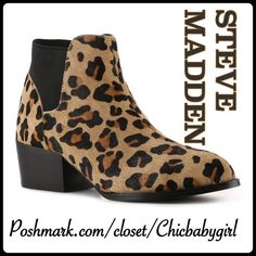 """STEVE MADDEN CALF HAIR CHELSEA BOOTIES Give your casual attire a fashionable flair with these gorgeous pony hair Chelsea booties. Constructed of stylish leopard print in a chunky stacked heel, the palace pointed toe ankle boot will add a sophisticated touch to any ensemble. Elastic back panel for stretch. ♦️SIZES 8 10 11 Listings by size in my closet♦️  Measurements; Heel Height 1.75"""" Steve Madden Shoes Ankle Boots & Booties"""