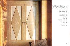 Decorative finish & monogram for cupboard doors & trompe l'oeil faux stone blocking by Timna Woollard Studio