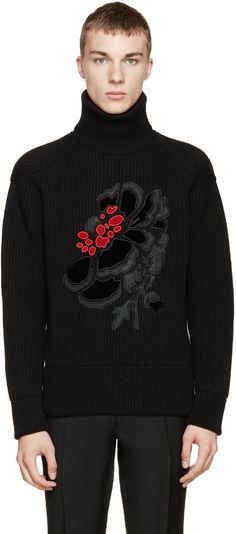 Alexander McQueen Black Poppy Printed Turtleneck