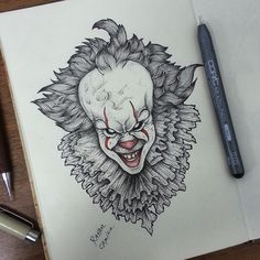 IT PENNYWISE #it #pennywise #dotwork #blackwork #draw #desenho #clow #stephenking #sketchbook