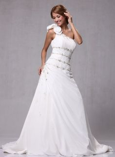 """W77 Satin Chiffon One Shoulder Bridal Wedding Formal Gown -      1. Please note our dress run different with Amazon """"merchat size chart"""".2. Buyer Must choose the size base on OUR OWN size chart. It located rightnext to images. If you have a hard time"""