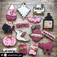 The prettiest set of Halloween cookies!! These are made by Jen Marich from @sweetness_jen using some of our cutters. The lantern, the frilly ghost and pumpkin vine with banner #thatsanicecookiecutter #decoratedcookies #halloween #cookies #ghost #lantern thatsanicecookiecutter.com