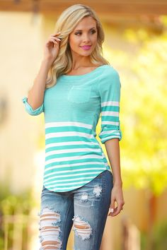 Favorite 3/4 Sleeve Top - Aqua/White (S to 3XL) from Closet Candy Boutique - #restock #shopccb