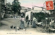 """MONTMARTRE : """"Fin 19ème, sur le versant nord de Montmartre, existe un vaste terrain vague appelé le Maquis. Même si cela ressemble à un bidonville d'aujourd'hui (...) on y trouve aussi de petites fermes, des jardins et même un """"château"""" (le Château des Brouillards) qui abrita la famille Renoir. Il y vit tout une population très typique du monde montmartrois de l'époque : chiffonniers et misérables, apaches mais aussi bohèmes et artistes (...) """""""