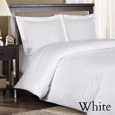 Egyptian Cotton Striped Duvet 8 Piece Comforter Duvet Set, 600 Thread Count