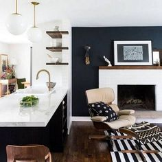 Do you need inspiration to make some Mid Century Kitchen Remodel Ideas in Your Home? There are a few reasons to think about upgrading the look of your Mid Century kitchen. Black Accent Walls, White Brick Walls, Black Walls, Wood Walls, White Shiplap, Home Living Room, Living Room Designs, Living Room Decor, Living Room Accent Wall