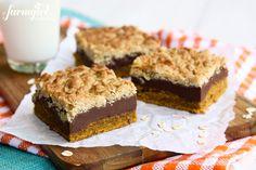Pumpkin and Fudge Layer Bars with Salty Crunchy Streusel - www.afarmgirlsdabbles.com