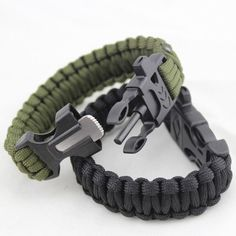 4 in 1 Flint Fire Starter Whistle Outdoor Camping Survival Bracelet