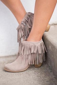 Just My Type Fringe & Chain Booties (Taupe) - NanaMacs.com - 1