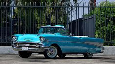1957 Chevrolet Bel Air Convertible HP, Continental Kit presented as lot at Anaheim, CA 2015 - Chevrolet Bel Air, 1957 Chevy Bel Air, My Dream Car, Dream Cars, Vintage Cars, Antique Cars, Convertible, Pink Truck, Old School Cars