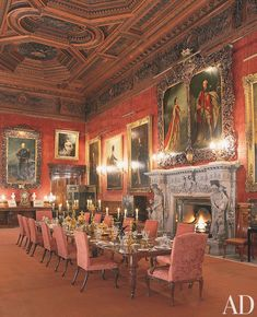 Traditional Dining Room in Alnwick Castle, England
