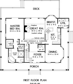 The Marigold House Plans First Floor Plan - kitchen into great room idea