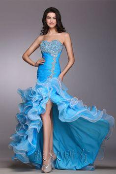 Blue Hi-Lo Wedding Dress Evening Dress Prom Dress Bridal Gown
