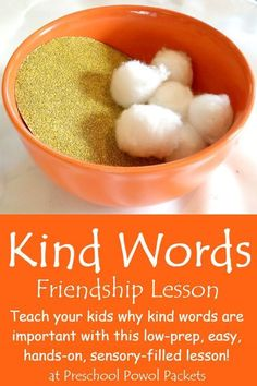 Kind Words Sensory Lesson Friendship Activity The sensory aspect of this lesson—sandpaper and cotton balls—really hits the mark! Social skills including empathy and kindness, which are not intuitive for all preschoolers, are effectively reinforced. Preschool Lessons, Preschool Activities, Preschool Kindergarten, Preschool Learning, Science For Preschoolers, Manners Preschool, Kindergarten Preparation, Sabbath Activities, Preschool Social Studies