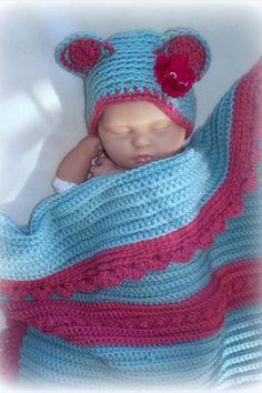Baby girl recieving blanket and hat set, Newborn, Nursery