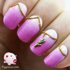 Gradient with gold tulip nail charm via #piggieluv  #nails #nailpolish #nailart #lavender #purple  - bellashoot.com