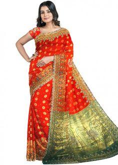 #orange #woven #bridal #kanjivaram #silk #saree #blouse #attractive #design #sareelove #new #arrivals #beautiful #indianwear #ootd #traditional #womenswear #online #shopping
