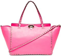 Valentino Rockstud Trapeze Tote in Fluo Pink