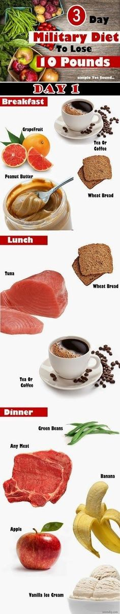 The Military Diet is also known as The Grapefruit Diet or The Coffee Diet.The followers are supposed to eat a strict 3-day menu and...