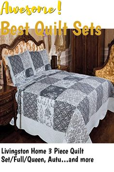 (This is an affiliate pin) Livingston Home 3 Piece Quilt Set/Full/Queen, Autumn Livingston, Quilt Sets, 3 Piece, Autumn, Queen, Quilts, Home, Fall Season, Ad Home