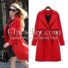 ChicSeller Red Lapel Double Buttons Pockets Trench Coat