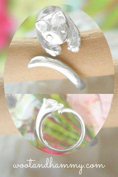 Resin resin Ring Glittery ring Stainless steel ring Stainless steel Cat adjustable ring. Ring Cat ring Adjustable ring