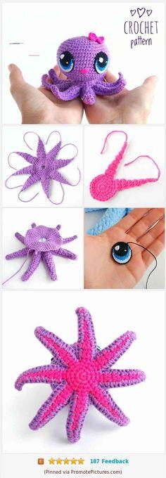 CROCHET OCTOPUS PATTERN - Amigurumi octopus with big eyes - crochet pattern . - CROCHET OCTOPUS PATTERN – Amigurumi octopus with big eyes – crochet pattern … – knitting instructions, simple knitting, knitting ideas, knitting animals, knitting cardigan Crocheted Jellyfish, Crochet Octopus, Animal Knitting Patterns, Crochet Dolls Free Patterns, Pattern Cute, Crochet Unicorn Pattern, Crochet Eyes, Crochet Rope, Crochet Flower Tutorial