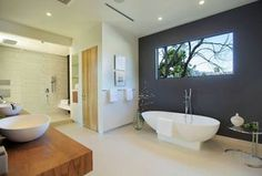 "Contemporary Master Bathroom with frameless showerdoor, Valira 72"" x 37"" Bathtub by Spa Escapes, Freestanding Bathtub"