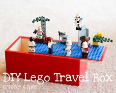 DIY LEGO Travel Box -I used a Tupperware container for mine. I just put velco pieces on the bottom of the lego base plate so it would stick to the lid, then I can just remove it after the road trip. Lego Duplo, Minifigures Lego, Kids Crafts, Projects For Kids, Diy For Kids, Diy Projects, Craft Tutorials, Lego Sets, Diy Lego