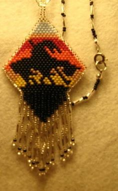 End of the Trail  Woven Pendant by mysticbeader on Etsy, $9.00