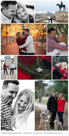 Winter Engagement Photography. Kansas City. Missouri. Hanna DiFiore Photography. KCMO. Red Plaid. Engagement Photos. Kansas City Skyline. Crown Center. .