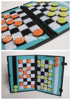 Trash to Treasure - DIY Recycled DVD Case Travel Checkers Board. Another recycled DVD case project from Stacy Vaughn. Her DVD case coloring kit can be found in this post. Love her use of Velcro and buttons. Tutorial by Handmade by Stacey Vaughn here. Kids Crafts, Crafts To Do, Craft Projects, Garden Projects, Operation Christmas Child, Do It Yourself Inspiration, Diy Recycle, Reuse, Crafty Craft
