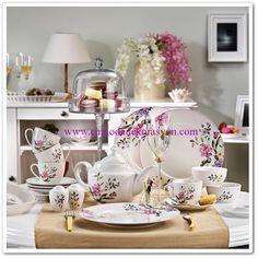 Kütahya Porselen Leonberg 33 Parça Kahvaltı Takımı-Bantlı Bowl Set, Tea Pots, Table Decorations, Mugs, Tableware, Kitchen, Furniture, Home Decor, Dinnerware