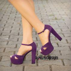 Jovia Mor Kalın Topuklu Ayakkabı #purple #shoelover