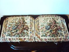 Vintage Tapestry Seat Covers Pillow by primitivepincushion on Etsy, $35.99