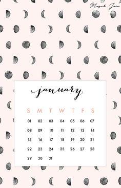 January - Free Calendar Printables 2017 by Nazuk Jain