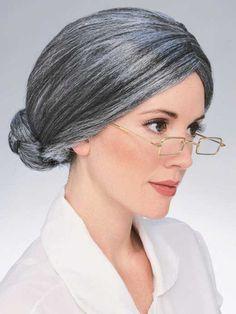 Womens Grey Gray Old Lady Granny Bun Mrs Claus Wig Costume New | eBay