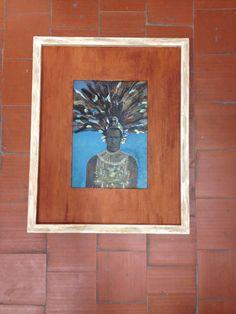 Marco artesano de yeso peinado con paspartú decorado con yeso de color y pigmentos