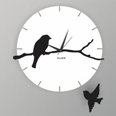 Klok Bird Wall Clock White And Black,Wall Clocks