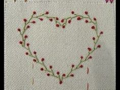 How to DIY Embroidery Heart - Hand Basic Stitches - Tutorial .