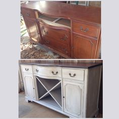 incredible buffet before and after by refound vintage using farmhouse paint color palace gray with asphaltum over top